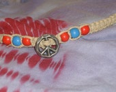 "Handmade 8"" Hemp Bracelet or Anklet Peace Sign Red & Blue Beads"