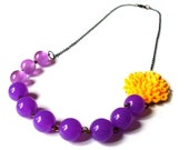 Yellow Crysanthemum and Purple Round Bead Asymmetrical Necklace