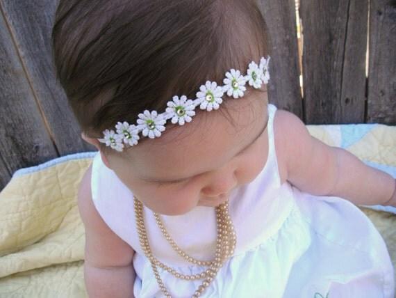 Baby Headband... white daisy with green center and diamond accents.