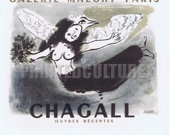 MARC CHAGALL - Galerie Maeght Paris CHAGALL 1950 Lithograph poster by Mourlot - Paris.