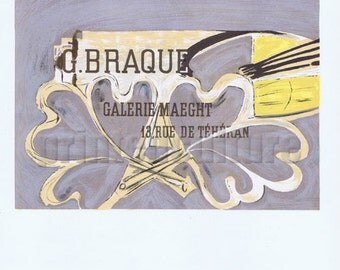 GEORGES BRAQUE Galerie Maeght 1952 - Lithograph poster by Mourlot - Paris.