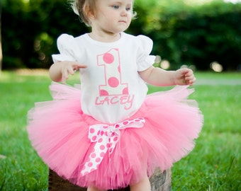 PERSONALIZED Pink and White Polka Dots Birthday Tutu Outfit