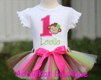Personalized Mod Monkey Pink and Green Birthday Tutu Outfit