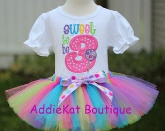PERSONALIZED Sweet to be Three Lollipop Birthday Tutu Outfit