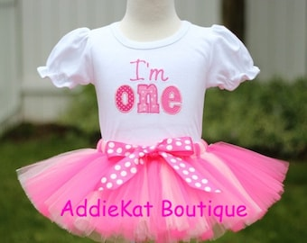 Personalized Pink Polka Dots Birthday I'm One Tutu Outfit