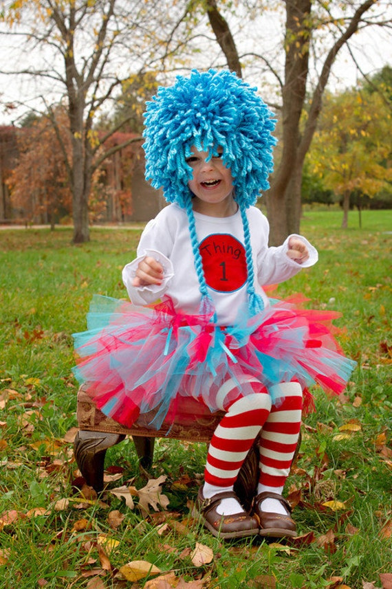 Dr. Seuss Thing 1 and Thing 2 Tutu Outfits - Perfect for Twins - Great Halloween Costumes or Birthday Outfits