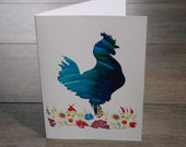 Blue Rooster Blank Greeting Card