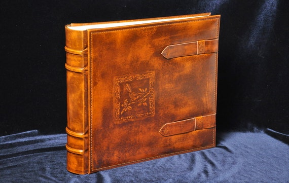 Classic leather photo album 30x34cm (11.8''x13.4'') hand dyed and tooled, antique style