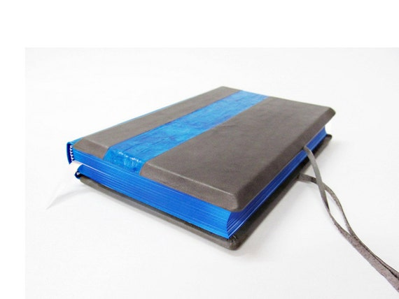 Deep blue and grey  leather journal