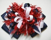 Hair Bow Red Navy Blue White Unique Big Boutique Toddler Girl 4th of July USA OLYMPICS Patriotic American RWB Korkers Handmade - HareBizBows