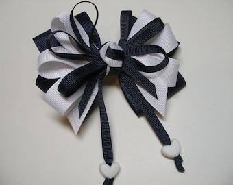 NAVY White Hair Bow Sweetheart HEART Boutique Streamers Tails Toddler Girl Grosgrain Handmade School Uniform