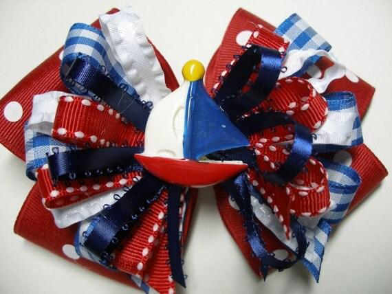Hair Bow Sail Boat Nautical Sailor Cruise Wear USA Red White Blue Big Girl Boutique Grosgrain Summer fashion 4th July Beach handmade
