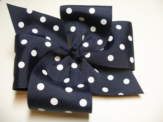 BIG Nautical Navy Blue Polka Dot Hair Bow Back to School Grosgrain School LARGE Uniform Girl Toddler