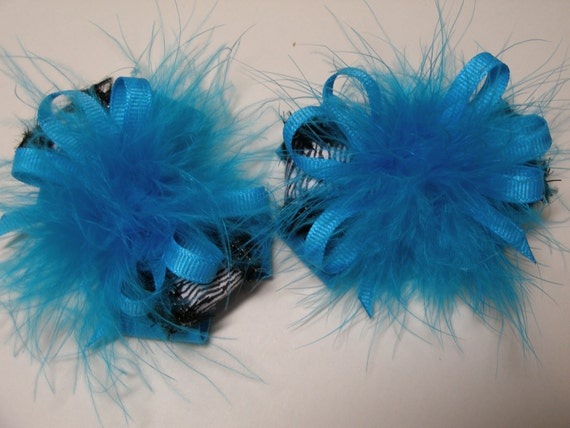 TWO Turquoise Marabou Princess Over the Top Pig Tail Hair Bows Toddler Girl Zebra Glitz Pageant Wear