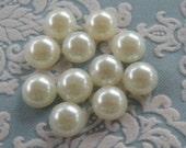 15pcs Small White Pearl Cabochons