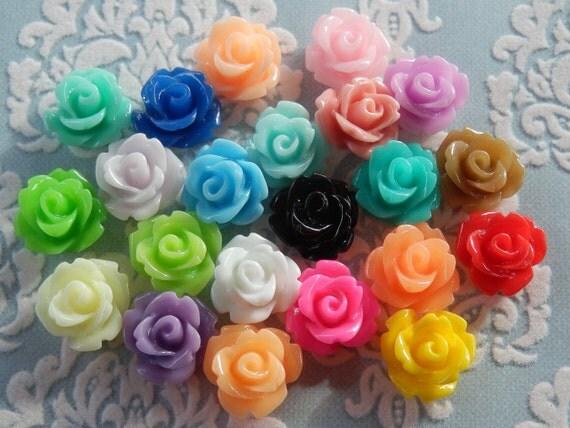 44pcs Assorted Colour Resin Rose Flower Cabochon 10mm Bulk Buy - Australia
