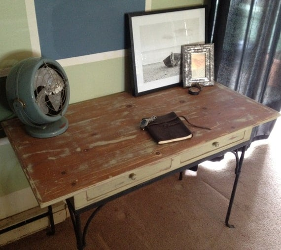 Rustic Urban Distressed Solid Pine Desk or Writing Table with Iron Legs