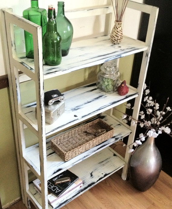 Medium White Distressed Bookshelf