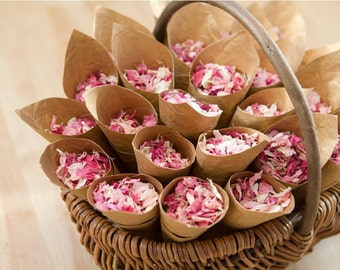Small garden willow trug with 25 cones and real petal wedding confetti