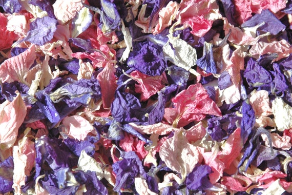 Real petal wedding confetti, natural biodegradable dried flower petal - 1 pint