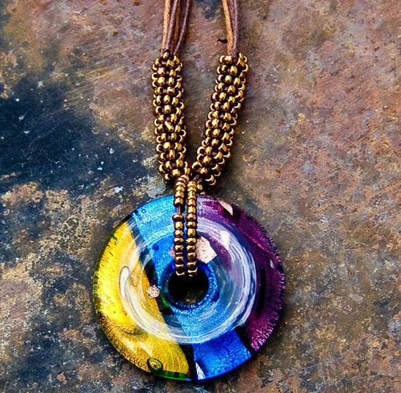 Colorful Glass Pendant Necklace -- Gold, Blue and Purple