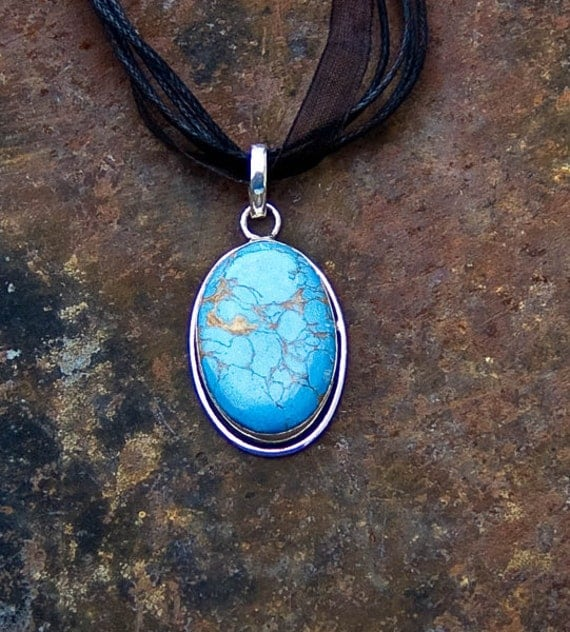 Magnesite and Sterling Silver Pendant Necklace, Blue and Gold