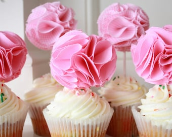 Fabric Cupcake Toppers- Pink