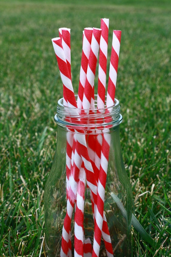 Red & White Striped Paper Party Straws (25) with DIY Straw Flag