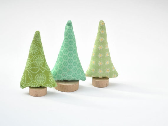 Green fabric Tree  - 3 pcs, natural toys for playscape