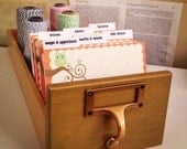 Library Card Catalog Recipe Box Set - Owl on a Branch