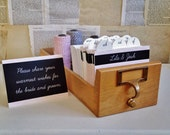 Wedding Guest Book Library Card Catalog - Personalized Blackboard Design with 400 inserts