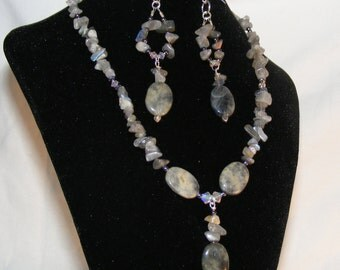 LABRADORITE necklace and earring set