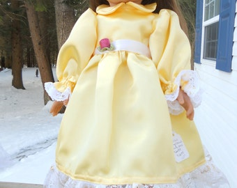 Elegant yellow satin party dress