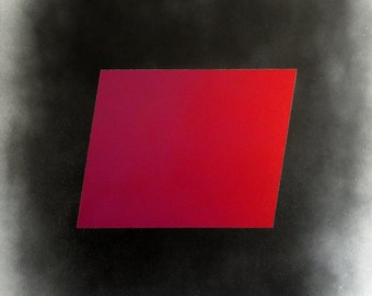 I Love You I Miss You, Original modern geometric Painting on canvas Bright red