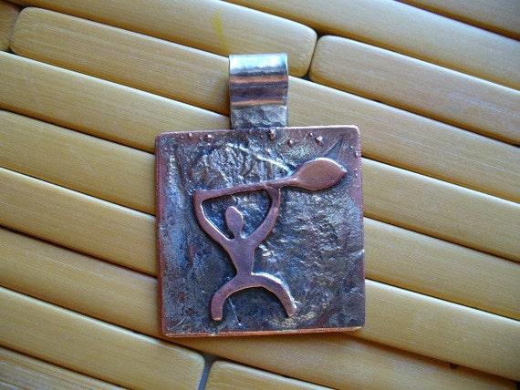 """Hawaiian Petroglyph Pendant, """"The Paddler"""""""