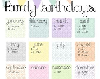 "Family Birthday Calendar - Digital copy you print in ""Pretty Pastels"""