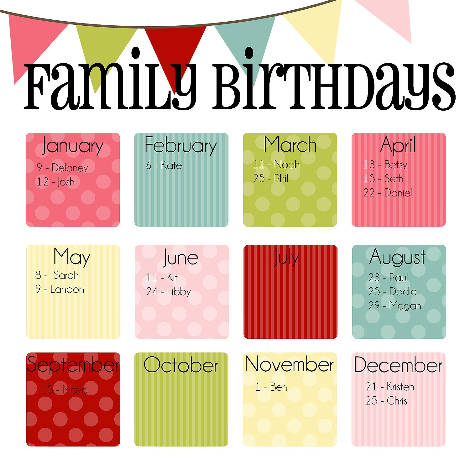 Birthday Calendars : Items similar to family birthday calendar digital copy