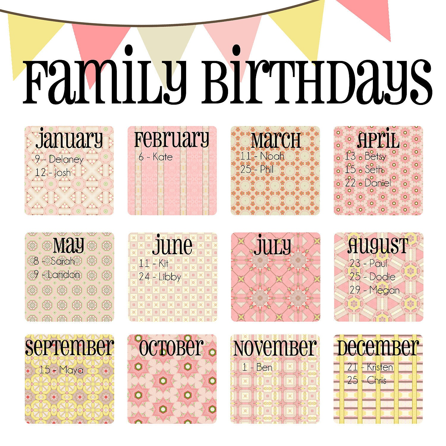 Birthday Calendar Ideas For Work : Family birthday calendar digital copy you print in