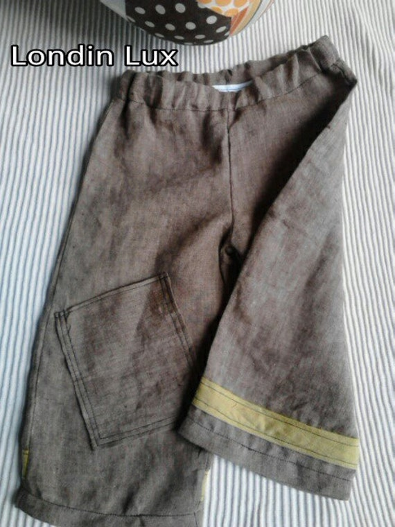 Boys 6-9 month brown linen summer pants. Ready to ship (LondinLuxBrand)
