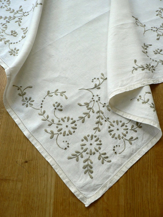 vintage hand embroidered tablecloth linen small pewter on cream