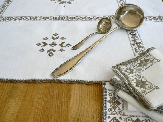 Scandinavian hand embroidered linen tablecloth traditional napkins silver brown on cream