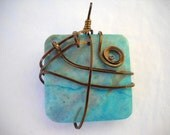 Chunky Turquoise Wire Wrapped ready to wear Pendant