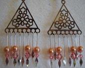 Peach Swarovski Pearl and Bi-Cone Chandelier Dangle Earrings