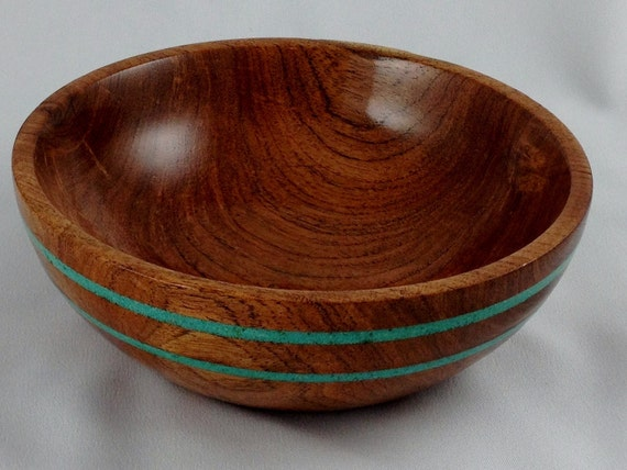 Texas Honey Mesquite Bowl with Turquoise Inlay
