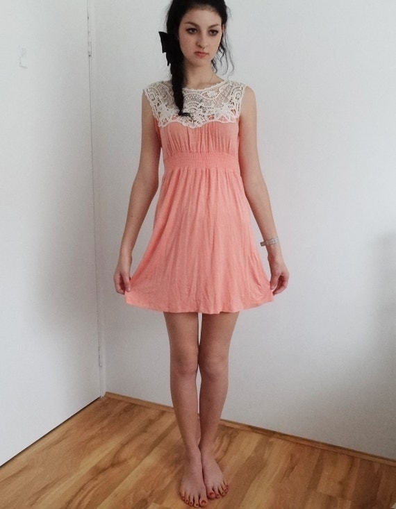 Lace Collared, Peach Sun Dress/ Tea Dress