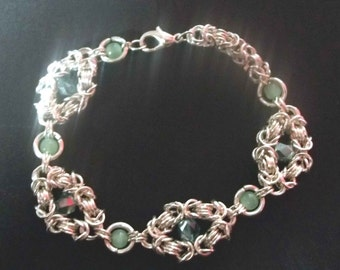 Edwardian inspired Bracelet - Handmade Silver Chain with Green Beads