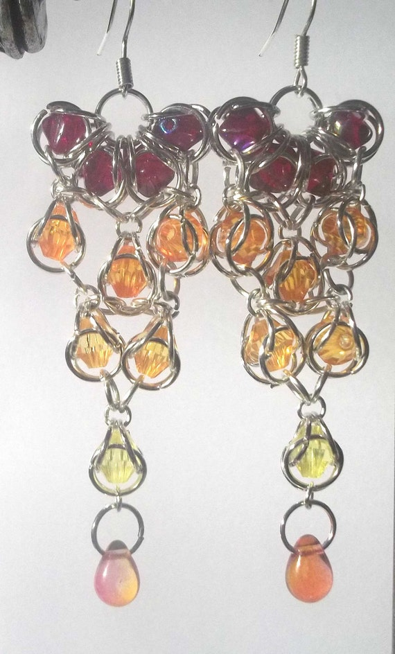 Flame Chandelier Earrings - Silver Chain Maille, Glass and Acrylic Beads