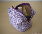 Not Fully Lined Zippered Zippy Box Pouch (Small Purple Flowers). Box Bag, Toiletry Bag, Makeup Bag