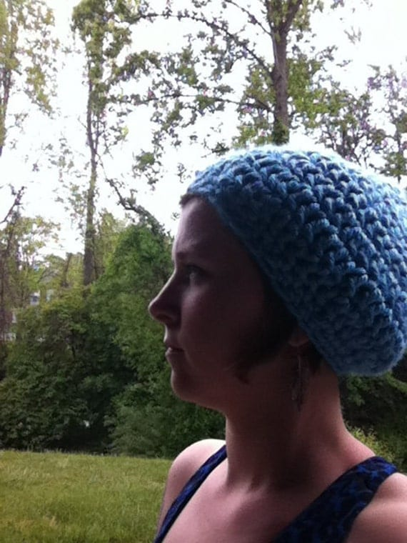 Chunky Crocheted Hat Slouchy Beanie Hat by Angiesyarnjunglr