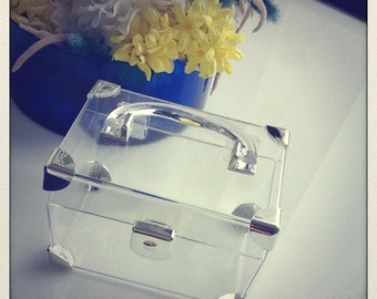 Perspex rectangular clutch box with handle